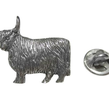 Silver Toned Scottish Highland Cow Lapel Pin