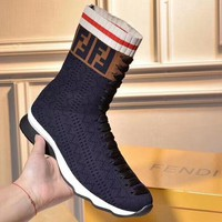 FENDI 2018 New Knitted Stretch Boots Flat Heel Thick Medium Socks Boots F-OMDP-GD Navy blue