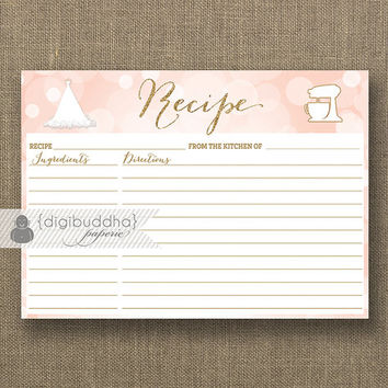 Blush Pink Bokeh & Gold Glitter Recipe Card INSTANT DOWNLOAD Bride Bridal Shower 5x7 DIY Printable or Printed Fill-In Recipe Retro - Carly