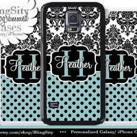 Monogram Damask Polka Dots Galaxy S5 case S4 Blue Black Personalized Samsung Galaxy S3 Case Note 2 3 4 Cover
