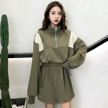 Harajuku Vintage Vestidos Hoodies Women 2018 Korean Street Style Long Sleeve Oversize Sweatshirt Dress Feminino Casual Pullover