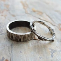 Personalized Matching Tree Bark and Twig Wedding Band Set in Sterling Silver Wood Grain - Flat, Rectangular and Branch Commitment Rings