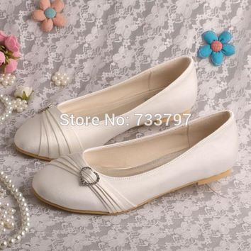 Wedopus Satin Flats Ivory Round Toe Party Wedding Bridal Dress Shoes for Bride