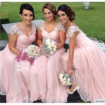 Well pink  Bridesmaid dresses maxi dress with elegant lace sleeve