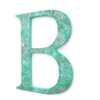 Custom Decorative Letters textured seafoam green wall letter with metallic silver and pearl, sizes 6 inches up to 20 inches, made to order