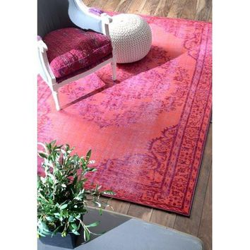 Boho Overdyed Vintage Look Pink Area Rug