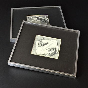 Two M C Escher Prints, Drawing Hands and Reptiles, Framed Vintage Art, Reproduction Lithographs, Strange Loop, Modern Tesselated Patterns