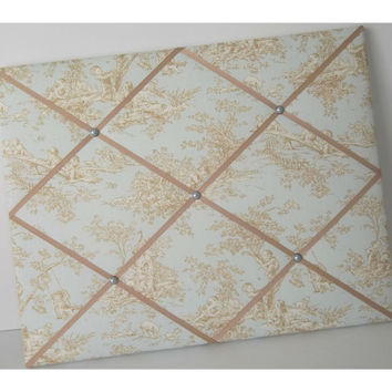 Central Park Toile Blue Horizon fabric Memo Board