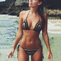 Crochet Striped Halter Bikini