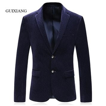 2017 New Arrival Style men boutique blazers business casual Geometrical pattern slim single breasted corduroy suit jacket M-3XL
