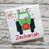 Custom Christmas Tractor T-Shirt - Kids Personalized Applique Shirts - Embroidered Holiday Top