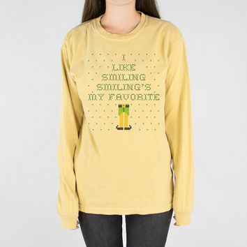 Elf Smiling's My Favorite Long Sleeve