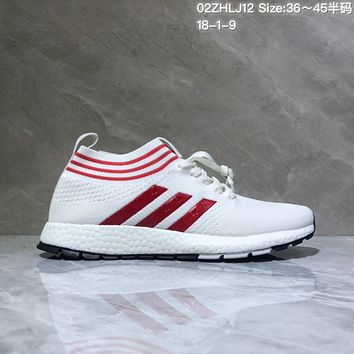 KUYOU A446 Adidas Pure Boost RBL 2019 Flyknit Fashion Running Shoes White Red