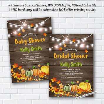 Pumpkin rustic Bridal Shower OR Baby Shower , Bridal, baby invitation,  Autumn  wedding newbaby Invitation - card 999