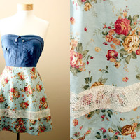 LAST ONE 40off -Lace,  Floral, Strapless, Sundress, with Denim, Corset, Style Bodice (S,M,L)