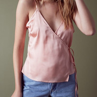 Satin Wrap Top - Blush