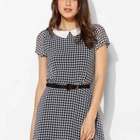 Lucca Couture Gingham Collared Dress- Blue
