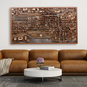 Chicago cityscape Wall Art made of old barn wood