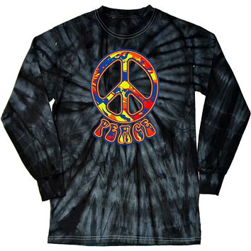 Peace T-shirt Funky 70's Peace Sign Tie Dye Long Sleeve