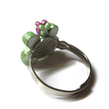 Glitter Butterfly Ring, Adjustable Band, Green and Violet, Insect Jewelry