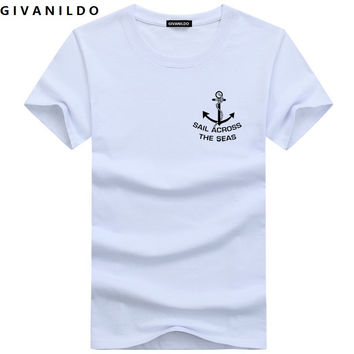 Givanildo 5XL Men T-Shirt Short Sleeve Plus Size T Shirt Man Clothes Slim Fit  Anchor College Casual Cotton Tee Shirt BY005