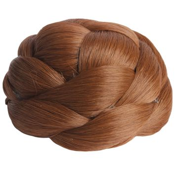 Women's Braided Hair Buns Extension Retro Hair Pieces Synthetic Light Brown NEW