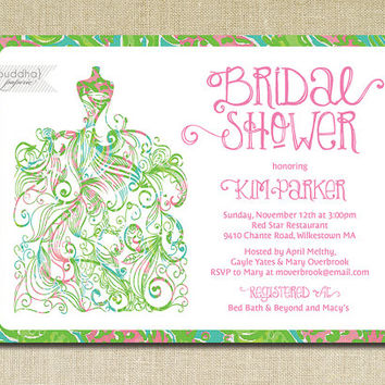 Lilly Pulitzer Inspired Chomp Chomp Bridal Shower Invitation Gown Preppy Shabby Chic Pink Green Blue Printable Digital or Printed- Kim Style