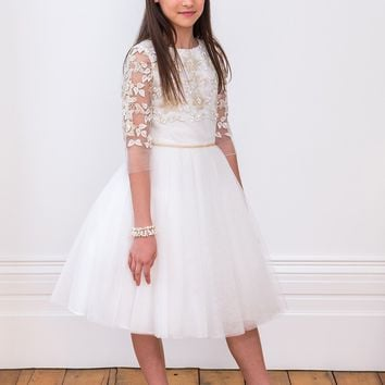 DAVID CHARLES Girls' LUXURY IVORY BRIDESMAID DRESS