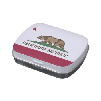 Patriotic candy tins with Flag of California