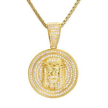 "Jewelry Kay style Men's Gold Tone Jesus Medallion Pendant & Stainless Steel 22"" Chain BSH 12857 G"