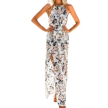 Sleeveless Floral Print Bohemian Boho Long Maxi  Dress