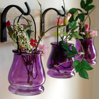 Colored Jar Trio with Wrought Iron hooks on recycled wood board