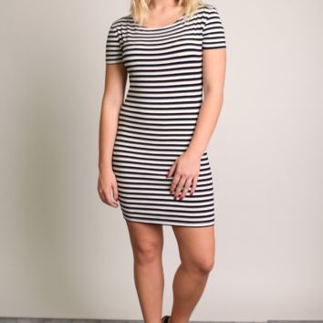 Piko 1988 Striped Short Sleeve Dress