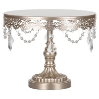 10 Inch Crystal-Draped Round Metal Cake Stand (Champagne)
