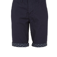 Navy Contrast Floral Print Turn Up Chino Shorts