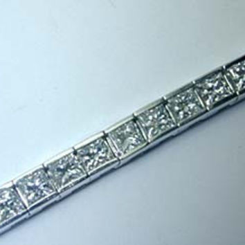 4.60ct Princess Cut Diamond Bracelet Tennis Railroad 14kt White Gold JEWELFORME BLUE