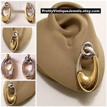 Monet Oval Two Tone Hoops Pierced Earrings Gold Silver Vintage Small Ring Loops