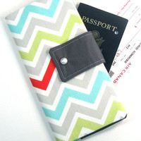 Snap Travel Passport Wallet in Gray, Lime, Aqua & Red Chevron