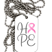 Hope - Breast Cancer Awareness Ribbon Adult Dog Tag Chain Necklace