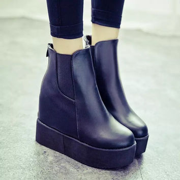 Hot Deal On Sale Waterproof Wedge Winter Shoes Club Sexy Height Increase Platform Boots [9013547460]