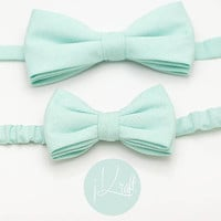 kid,pastel mint green bow tie,double layer,elastic velcro strap, handkerchief, cotton, toddler,baby boy,boy,mint theme wedding, ring bearer