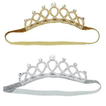 Princess Crown Baby Girl Headband Pearl Crystal Crown Girl Hair Accessory Stretchable Hair Band Gold Silver
