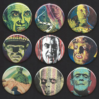 Men of the vintage Monster movies, Set of Nine 2.25 round pin backs, fridge magnets, mirrors, bottle openers, Frankenstein, Dracula