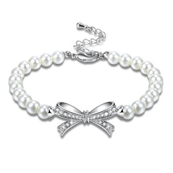 Angelady Bowtie White Pearls Bracelet with AAA Cubic Zirconia Valentine Wedding Birthday Anniversary Gifts Idea
