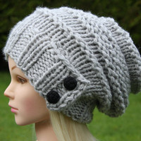 Hand Knit Hat Women's hat- beanie- slouchy hat with two black buttons