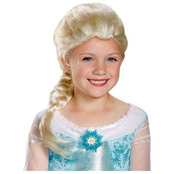 Elsa Wig Kids Disney Frozen Costume Halloween Fancy Dress