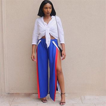 KOKKIRI Sexy High Split Mid Waist Wide Leg Pants Women loose Trousers side slit track flare pants Blue Long Palazzo Harem Capri