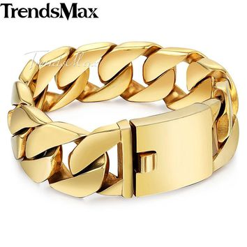 Men's Bracelets Thick Big Hip Hop Gold Curb Link Chain 316L Stainless Steel Bracelet For Male Jewelry Dropshipping 24mm KHB321