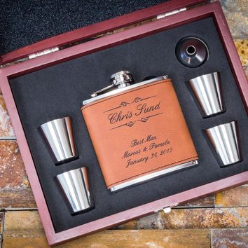 """""""Rawhide"""" Faux Leather Flask Gift Set, Custom Engraved - Great Gift for Dad, 6pc Set"""