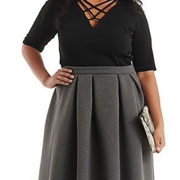PLUS SIZE CAGED V-NECK TOP